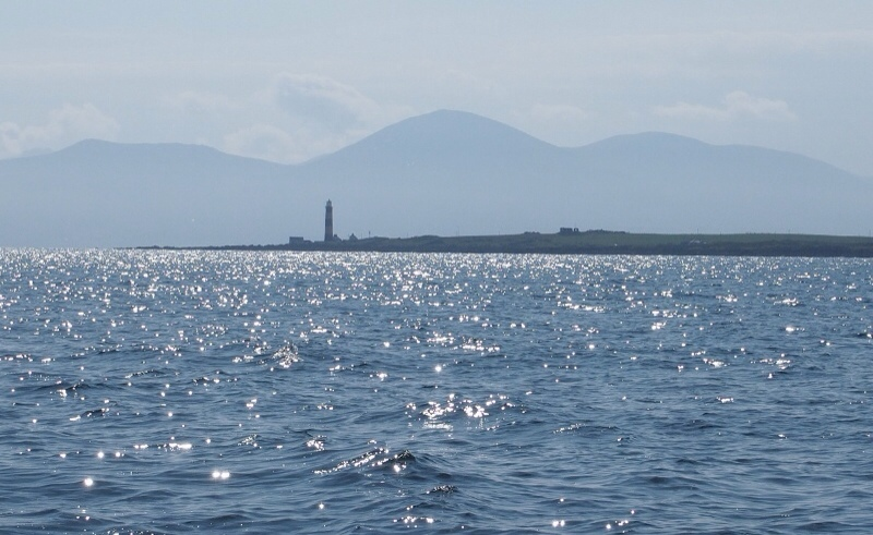 St John's Lighthouse with the distant mountains of Mourne