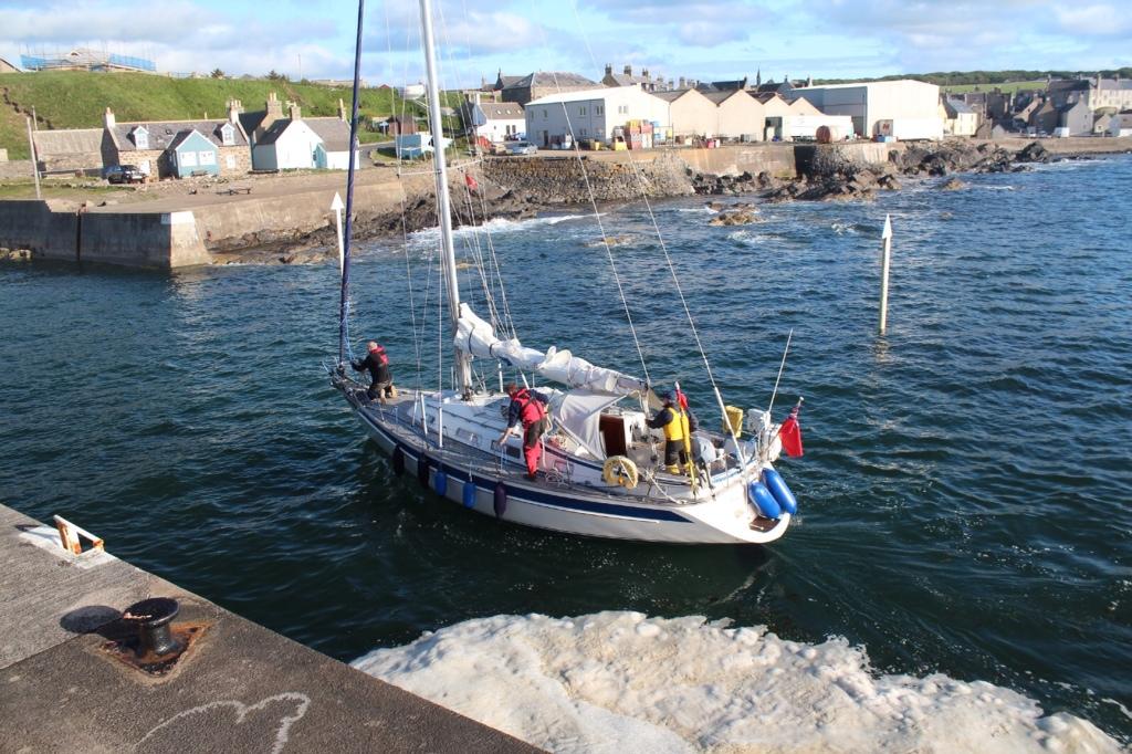 Dawn Treader entering Whitehills Harbour