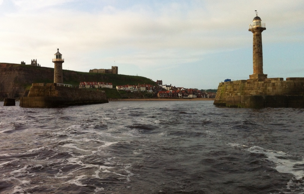 Leaving Whitby in a strong cross tide