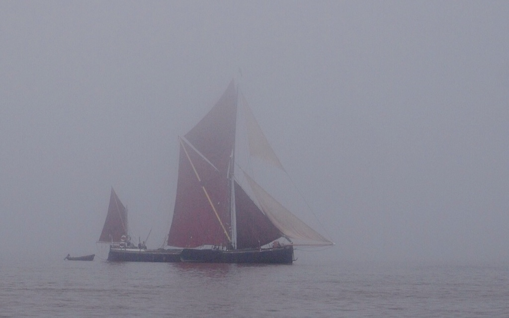 Thames barge in the mist